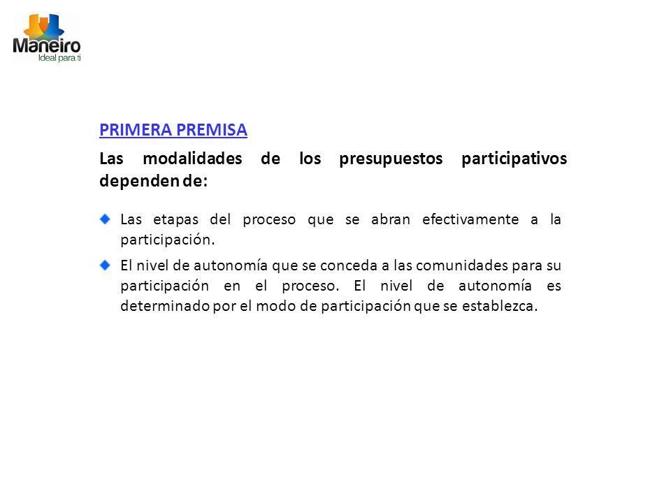 PRIMERA PREMISA Las modalidades de los presupuestos participativos dependen de: Las etapas del proceso que se abran efectivamente a la participación.