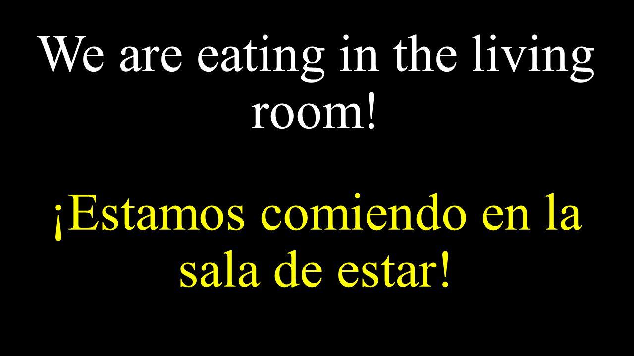 We are eating in the living room! ¡Estamos comiendo en la sala de estar!