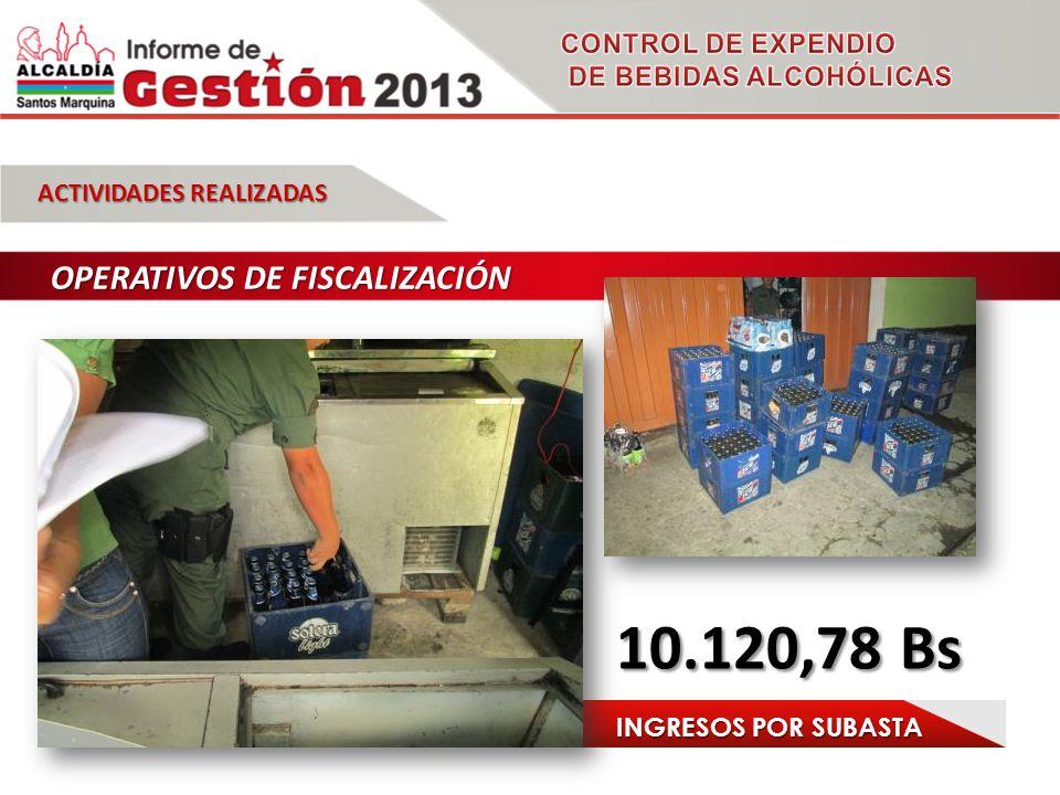 ACTIVIDADES REALIZADAS OPERATIVOS DE FISCALIZACIÓN 10.120,78 Bs INGRESOS POR SUBASTA