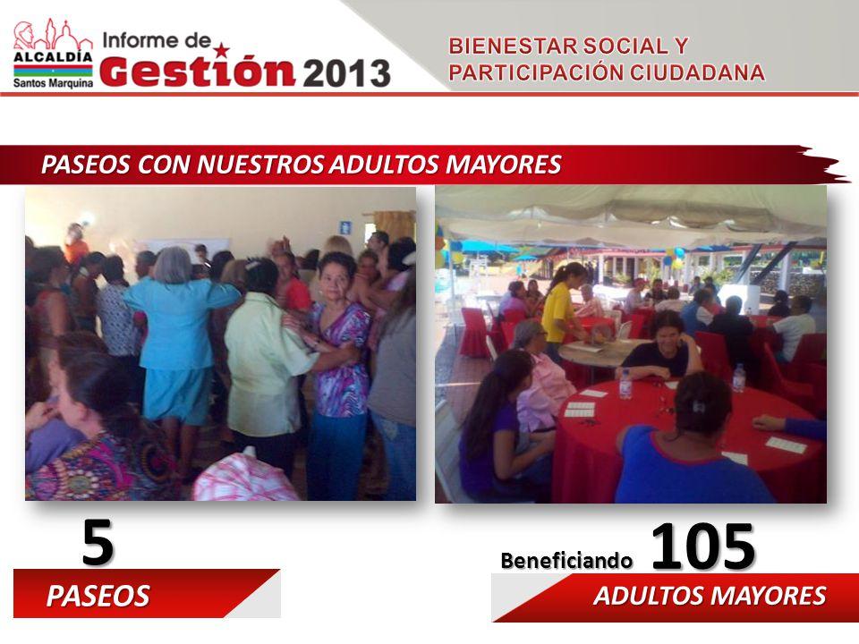 PASEOS CON NUESTROS ADULTOS MAYORES 5 PASEOS ADULTOS MAYORES 105 Beneficiando