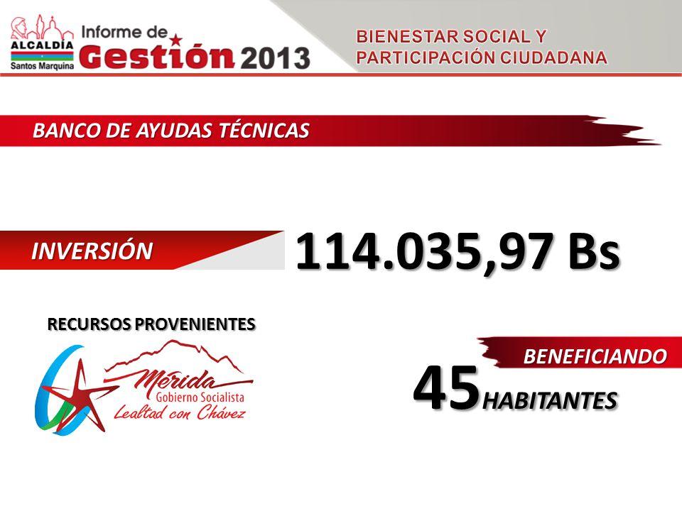 BANCO DE AYUDAS TÉCNICAS INVERSIÓN 114.035,97 Bs BENEFICIANDO 45 HABITANTES RECURSOS PROVENIENTES