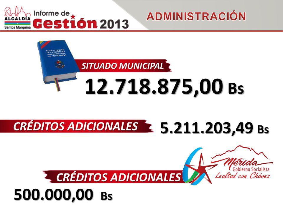 CRÉDITOS ADICIONALES 5.211.203,49 Bs SITUADO MUNICIPAL 12.718.875,00 Bs CRÉDITOS ADICIONALES 500.000,00 Bs