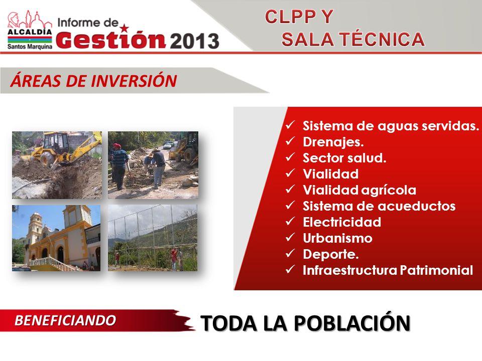 ÁREAS DE INVERSIÓN TODA LA POBLACIÓN Sistema de aguas servidas.