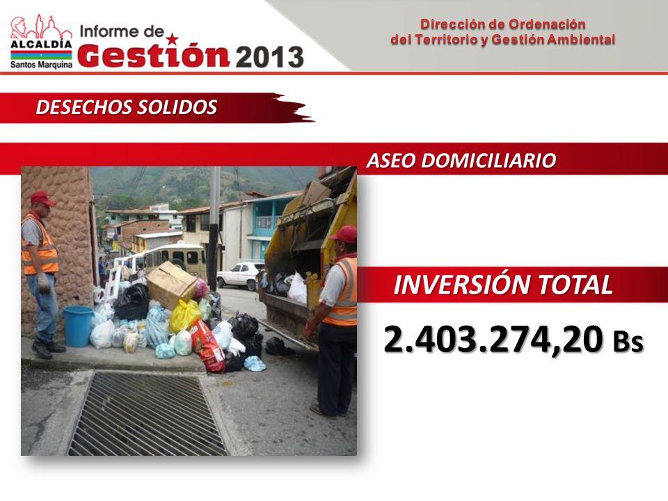 DESECHOS SOLIDOS ASEO DOMICILIARIO ASEO DOMICILIARIO INVERSIÓN TOTAL 2.403.274,20 Bs
