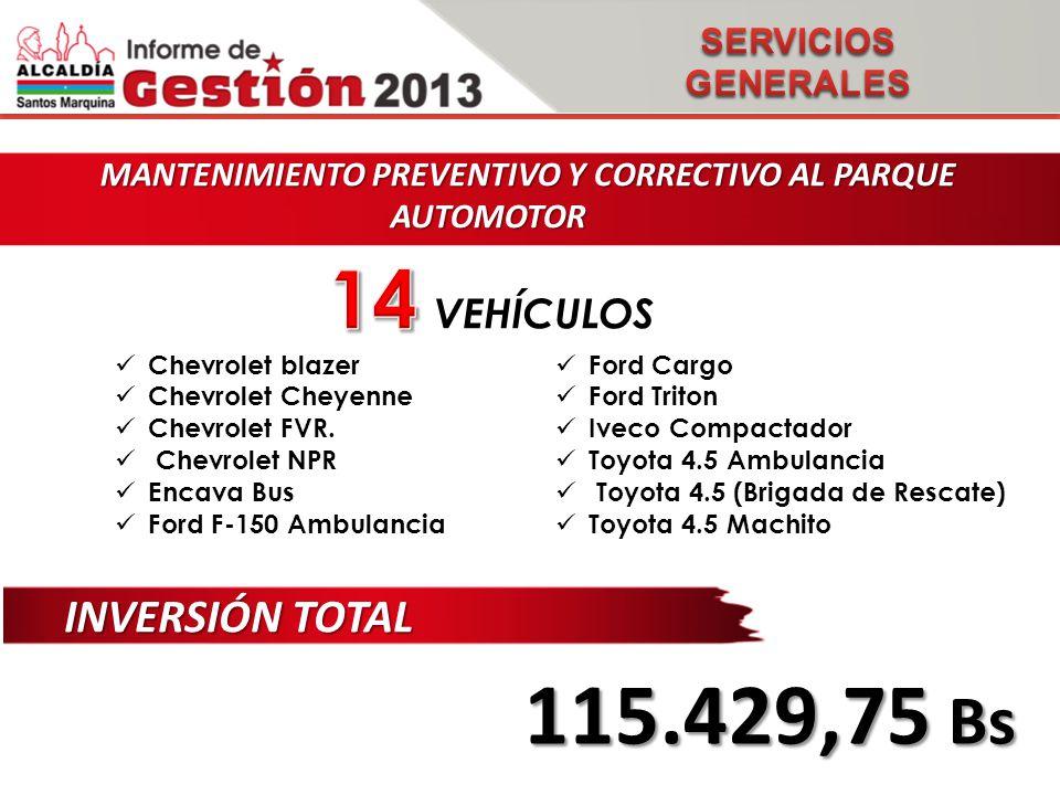 MANTENIMIENTO PREVENTIVO Y CORRECTIVO AL PARQUE AUTOMOTOR MANTENIMIENTO PREVENTIVO Y CORRECTIVO AL PARQUE AUTOMOTOR INVERSIÓN TOTAL 115.429,75 Bs VEHÍCULOS Chevrolet blazer Chevrolet Cheyenne Chevrolet FVR.