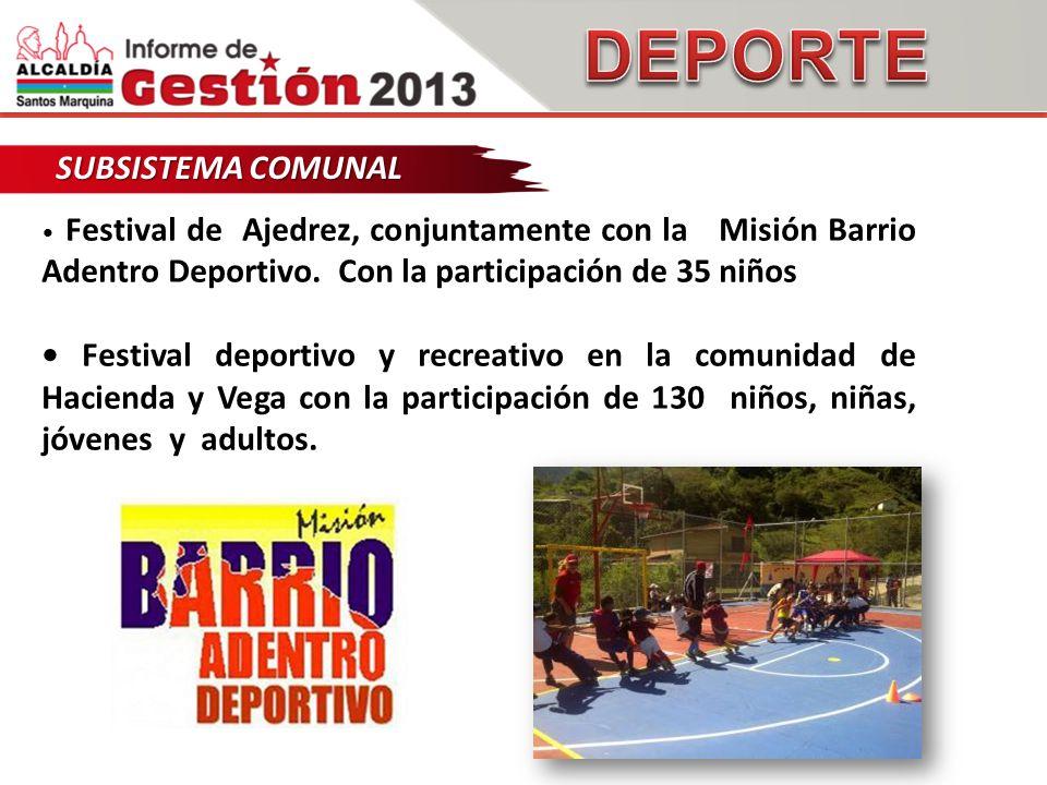 SUBSISTEMA COMUNAL Festival de Ajedrez, conjuntamente con la Misión Barrio Adentro Deportivo.