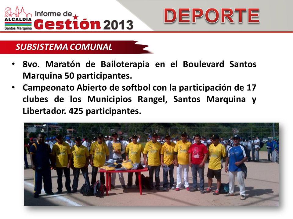 SUBSISTEMA COMUNAL 8vo. Maratón de Bailoterapia en el Boulevard Santos Marquina 50 participantes.