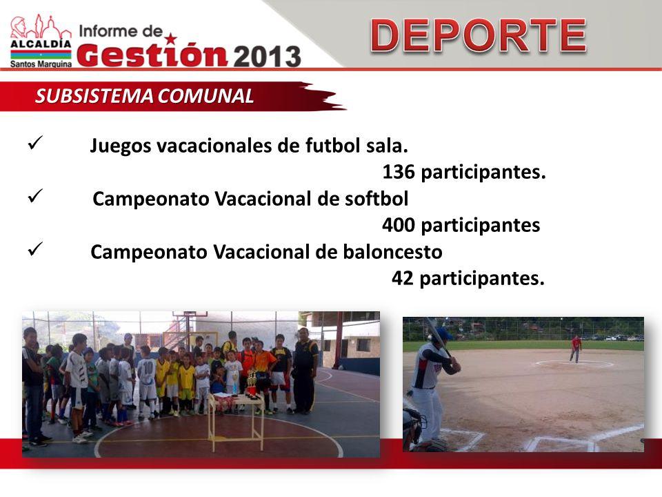SUBSISTEMA COMUNAL Juegos vacacionales de futbol sala.
