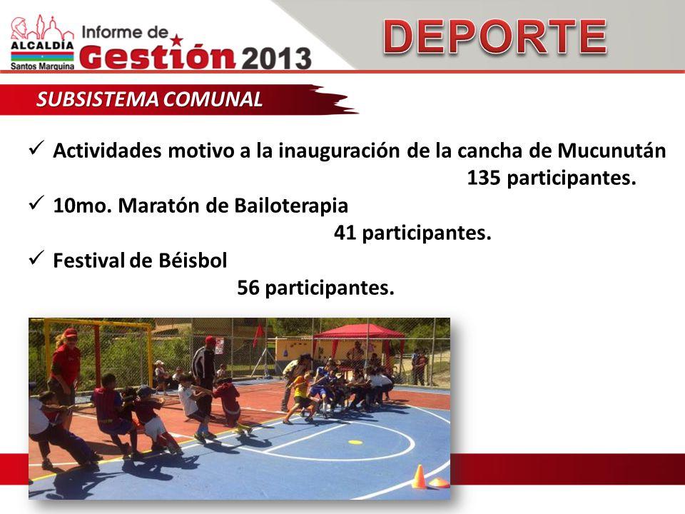 SUBSISTEMA COMUNAL Actividades motivo a la inauguración de la cancha de Mucunután 135 participantes.