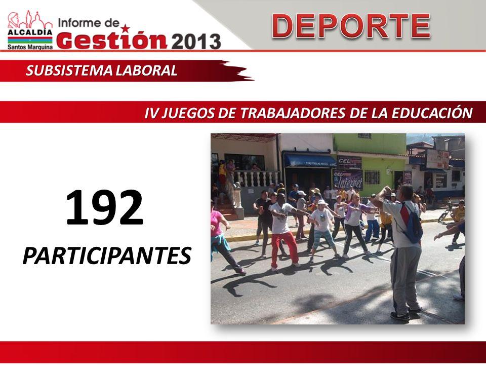SUBSISTEMA LABORAL IV JUEGOS DE TRABAJADORES DE LA EDUCACIÓN 192 PARTICIPANTES