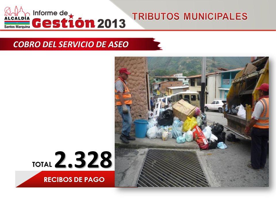 COBRO DEL SERVICIO DE ASEO 2.328 RECIBOS DE PAGO TOTAL