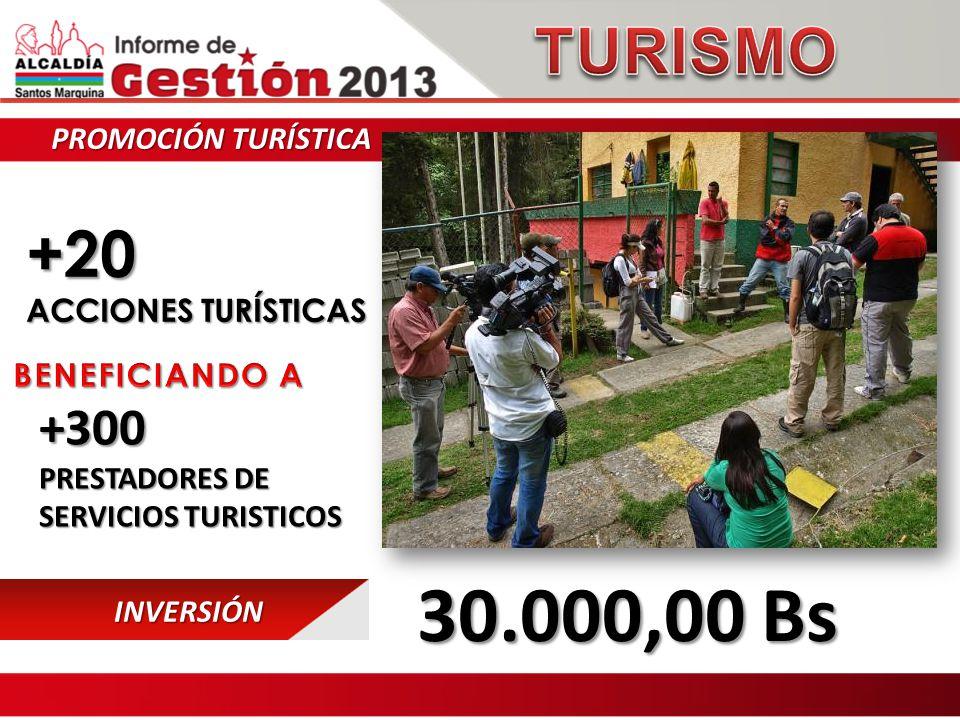 PROMOCIÓN TURÍSTICA +20 ACCIONES TURÍSTICAS INVERSIÓN 30.000,00 Bs 30.000,00 Bs +300 PRESTADORES DE SERVICIOS TURISTICOS