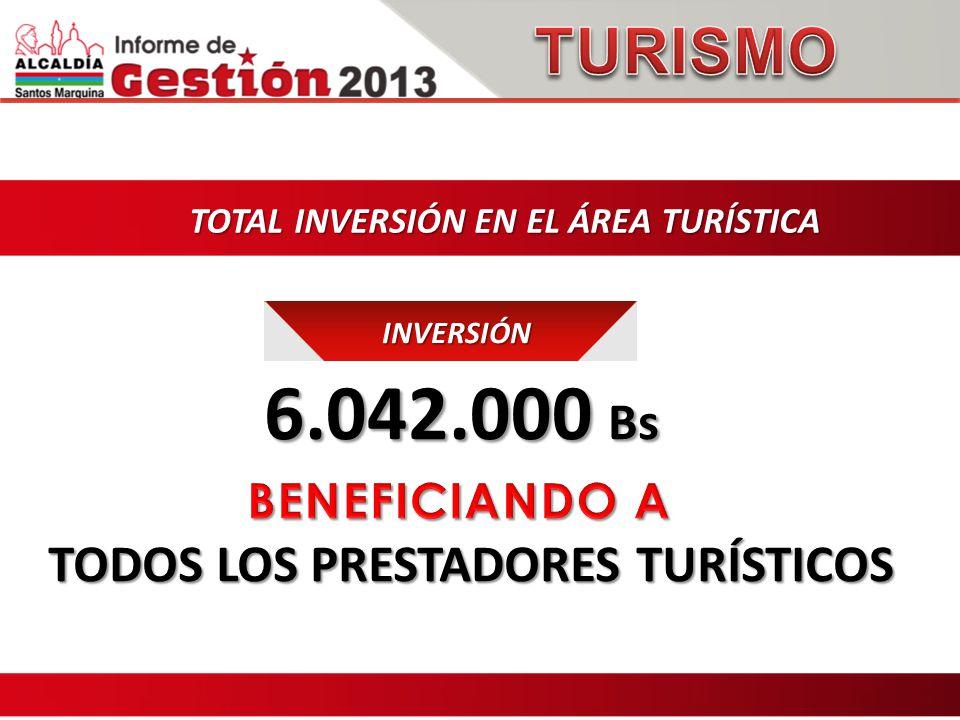 TOTAL INVERSIÓN EN EL ÁREA TURÍSTICA INVERSIÓN 6.042.000 Bs 6.042.000 Bs TODOS LOS PRESTADORES TURÍSTICOS TODOS LOS PRESTADORES TURÍSTICOS