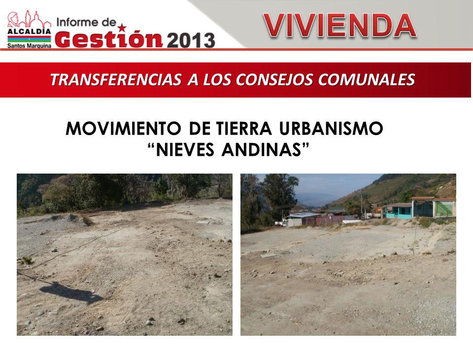 TRANSFERENCIAS A LOS CONSEJOS COMUNALES TRANSFERENCIAS A LOS CONSEJOS COMUNALES MOVIMIENTO DE TIERRA URBANISMO NIEVES ANDINAS