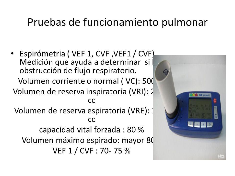 Pruebas de funcionamiento pulmonar Espirómetria ( VEF 1, CVF,VEF1 / CVF).