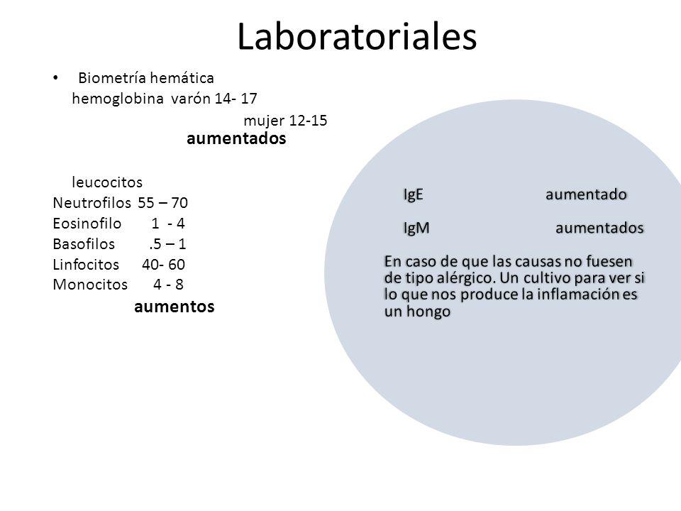 Laboratoriales Biometría hemática hemoglobina varón 14- 17 mujer 12-15 aumentados leucocitos Neutrofilos 55 – 70 Eosinofilo 1 - 4 Basofilos.5 – 1 Linfocitos 40- 60 Monocitos 4 - 8 aumentos