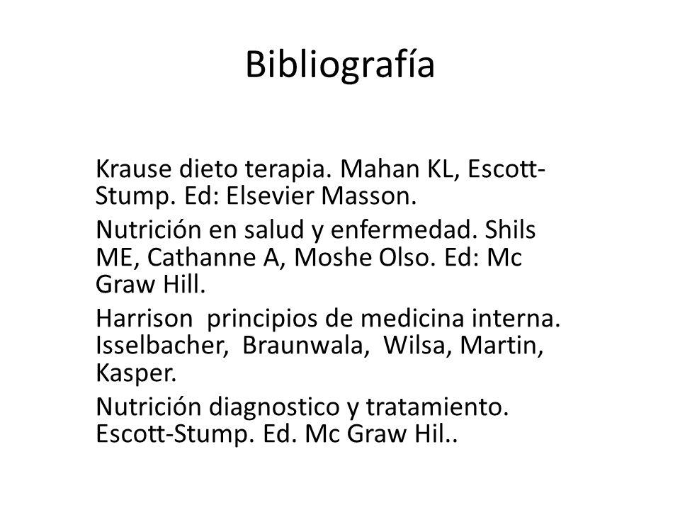 Bibliografía Krause dieto terapia. Mahan KL, Escott- Stump.