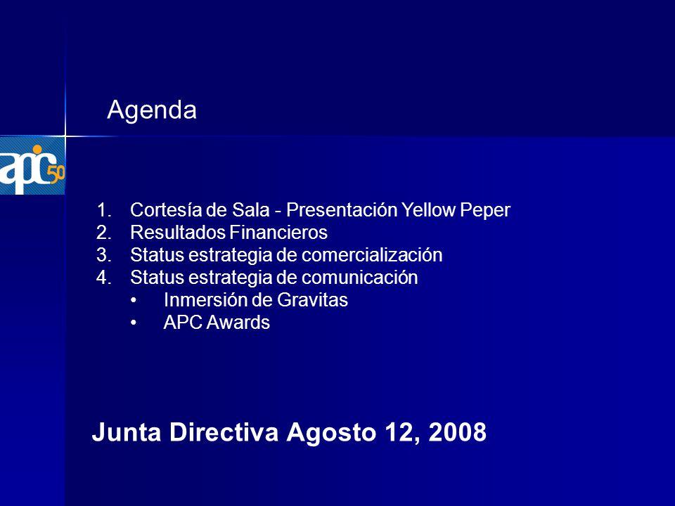 Agenda 1.Cortesía de Sala - Presentación Yellow Peper 2.Resultados Financieros 3.Status estrategia de comercialización 4.Status estrategia de comunicación Inmersión de Gravitas APC Awards Junta Directiva Agosto 12, 2008
