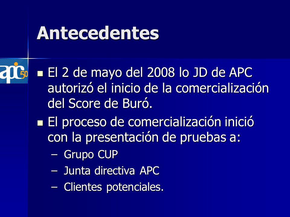 Antecedentes El 2 de mayo del 2008 lo JD de APC autorizó el inicio de la comercialización del Score de Buró.