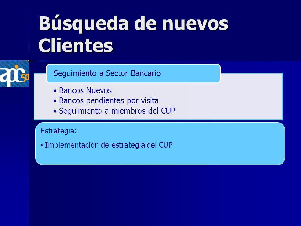Búsqueda de nuevos Clientes Bancos Nuevos Bancos pendientes por visita Seguimiento a miembros del CUP Seguimiento a Sector Bancario Estrategia: Implementación de estrategia del CUP