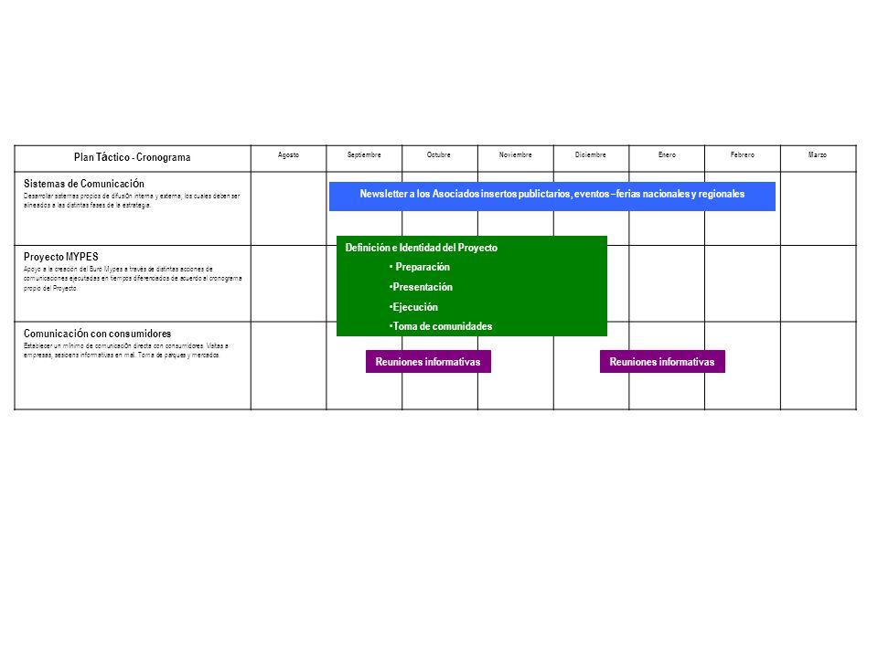 Plan T á ctico - Cronograma AgostoSeptiembreOctubreNoviembreDiciembreEneroFebreroMarzo Sistemas de Comunicaci ó n Desarrollar sistemas propios de difusi ó n interna y externa, los cuales deben ser alineados a las distintas fases de la estrategia.