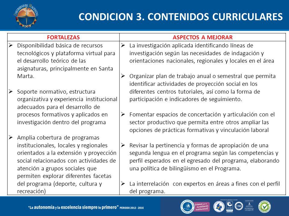 FORTALEZASASPECTOS A MEJORAR  Disponibilidad básica de recursos tecnológicos y plataforma virtual para el desarrollo teórico de las asignaturas, principalmente en Santa Marta.