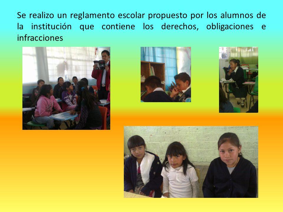 Se realizo un reglamento escolar propuesto por los alumnos de la institución que contiene los derechos, obligaciones e infracciones