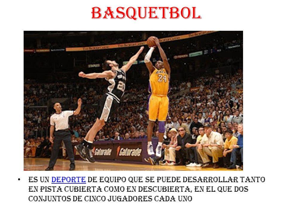 BASQUETBOL es un deporte de equipo que se puede desarrollar tanto en pista cubierta como en descubierta, en el que dos conjuntos de cinco jugadores cada unodeporte