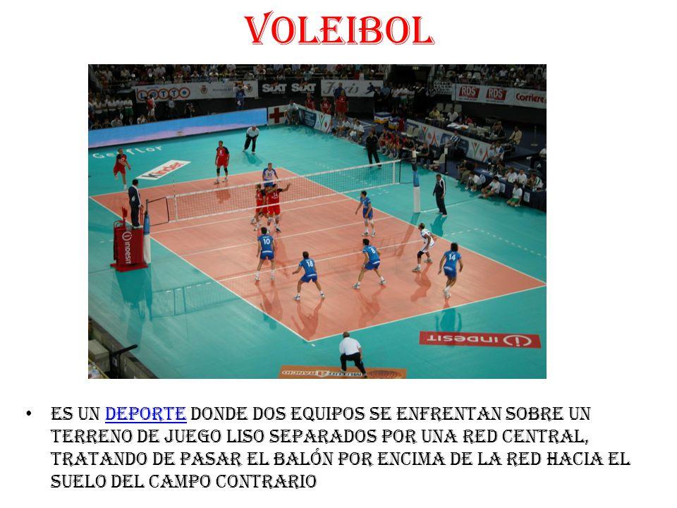 VOLEIBOL es un deporte donde dos equipos se enfrentan sobre un terreno de juego liso separados por una red central, tratando de pasar el balón por encima de la red hacia el suelo del campo contrariodeporte