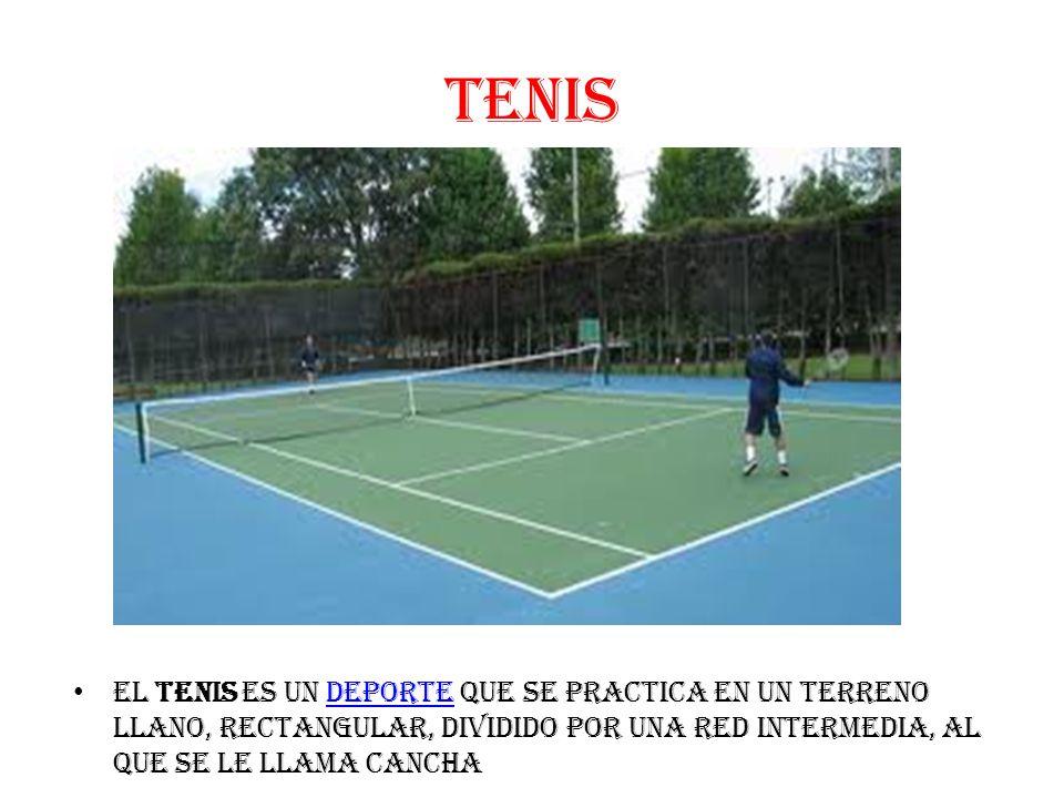 TENIS El tenis es un deporte que se practica en un terreno llano, rectangular, dividido por una red intermedia, al que se le llama canchadeporte