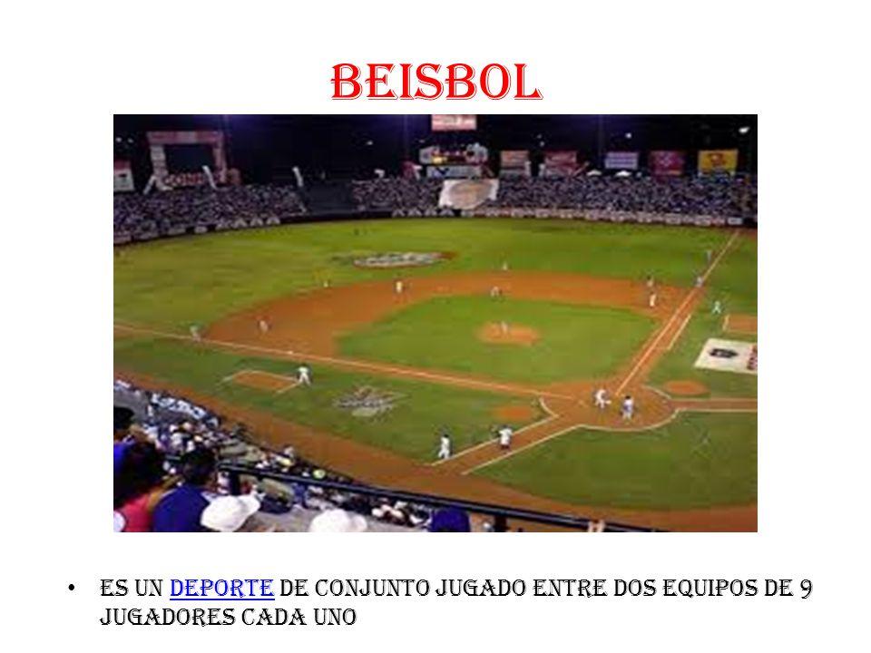 BEISBOL es un deporte de conjunto jugado entre dos equipos de 9 jugadores cada unodeporte