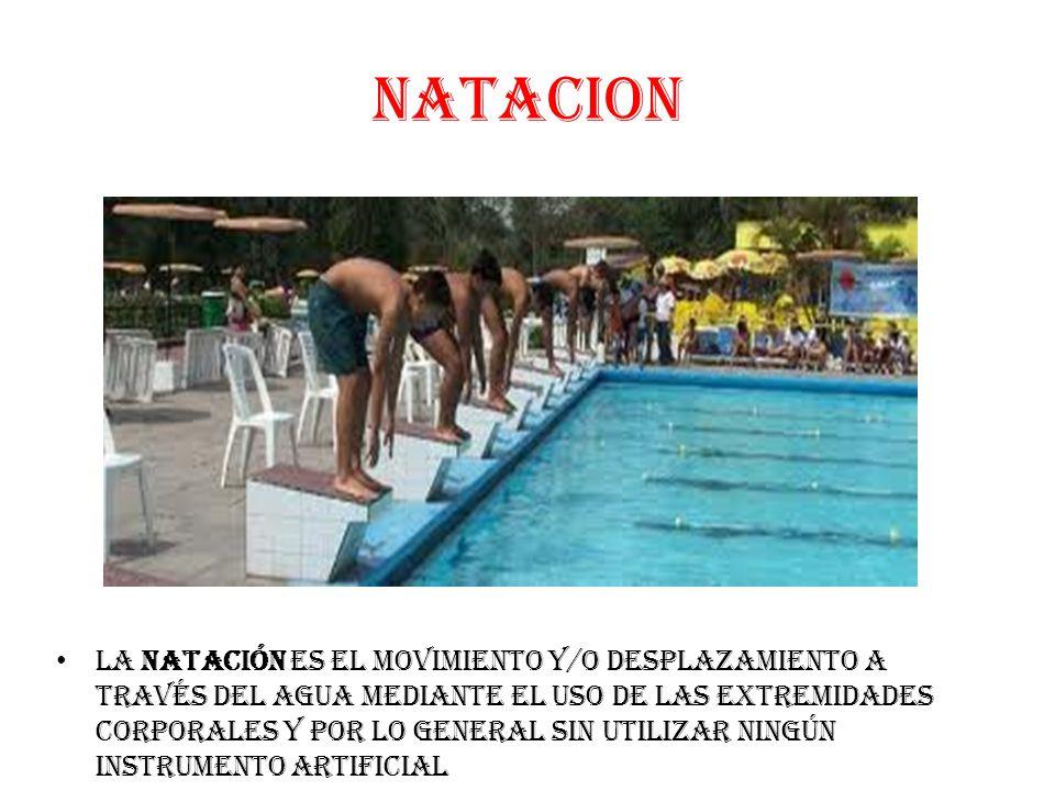 NATACION La Natación es el movimiento y/o desplazamiento a través del agua mediante el uso de las extremidades corporales y por lo general sin utilizar ningún instrumento artificial