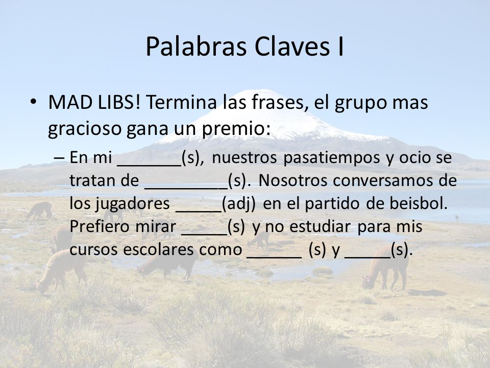 Palabras Claves I MAD LIBS.