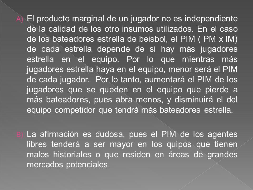A) El producto marginal de un jugador no es independiente de la calidad de los otro insumos utilizados.