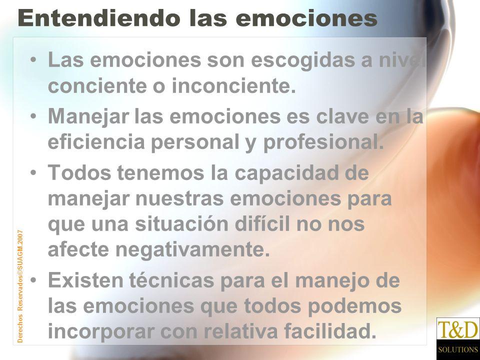 Derechos Reservados©SUAGM.2007 Entendiendo las emociones Las emociones son escogidas a nivel conciente o inconciente.