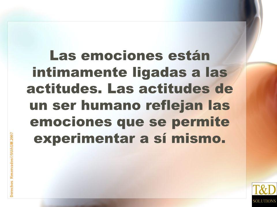 Derechos Reservados©SUAGM.2007 Las emociones están intimamente ligadas a las actitudes.