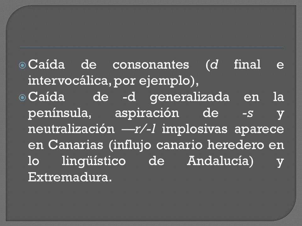  Caída de consonantes (d final e intervocálica, por ejemplo),  Caída de -d generalizada en la península, aspiración de -s y neutralización —r/-l implosivas aparece en Canarias (influjo canario heredero en lo lingüístico de Andalucía) y Extremadura.