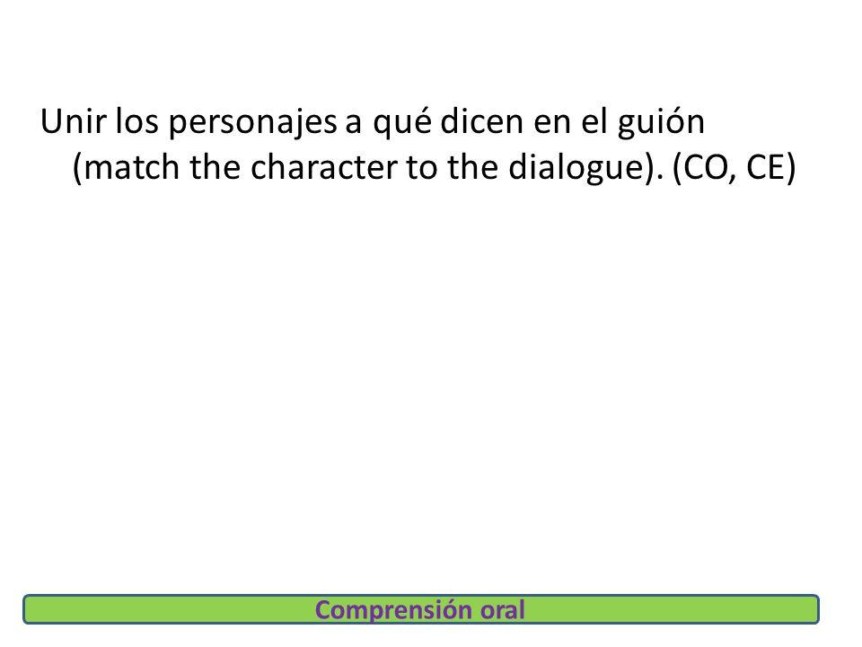 Unir los personajes a qué dicen en el guión (match the character to the dialogue).