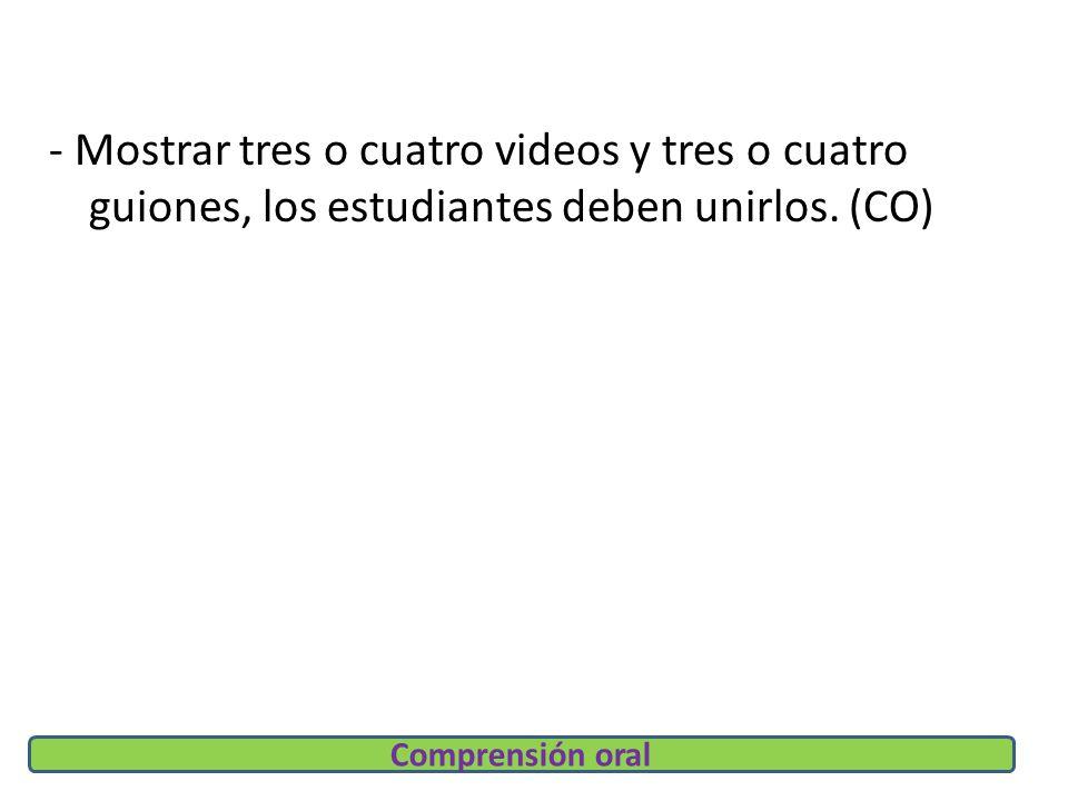 - Mostrar tres o cuatro videos y tres o cuatro guiones, los estudiantes deben unirlos.