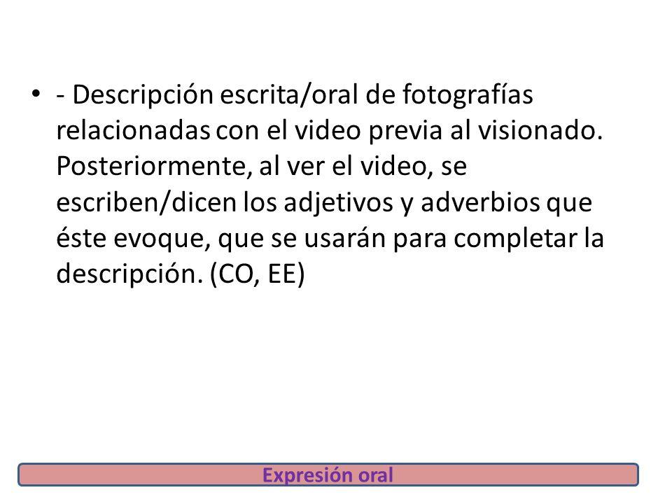 - Descripción escrita/oral de fotografías relacionadas con el video previa al visionado.