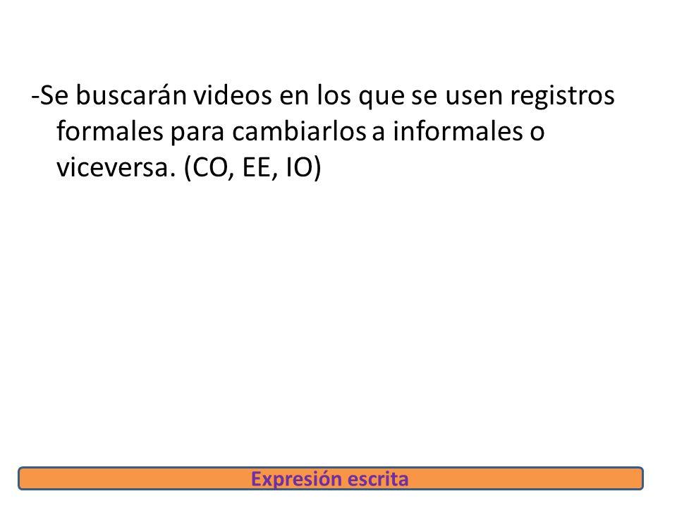 -Se buscarán videos en los que se usen registros formales para cambiarlos a informales o viceversa.