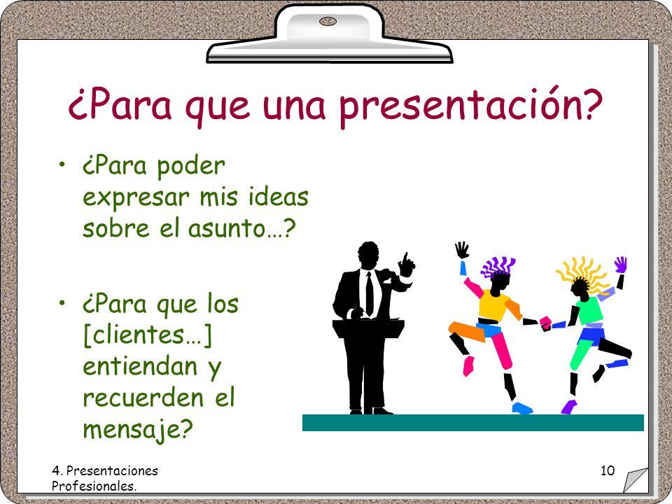4. Presentaciones Profesionales. 10 ¿Para que una presentación.