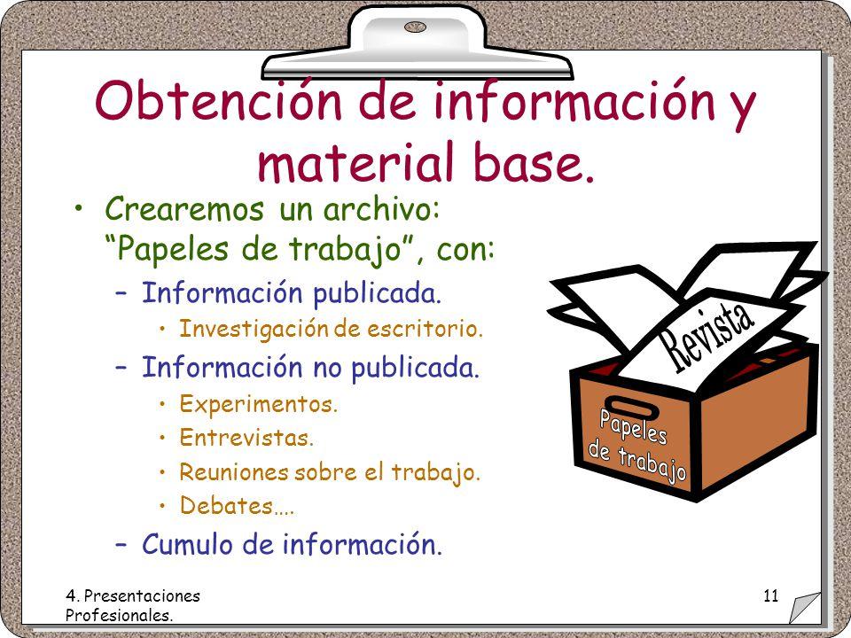 4. Presentaciones Profesionales. 11 Obtención de información y material base.
