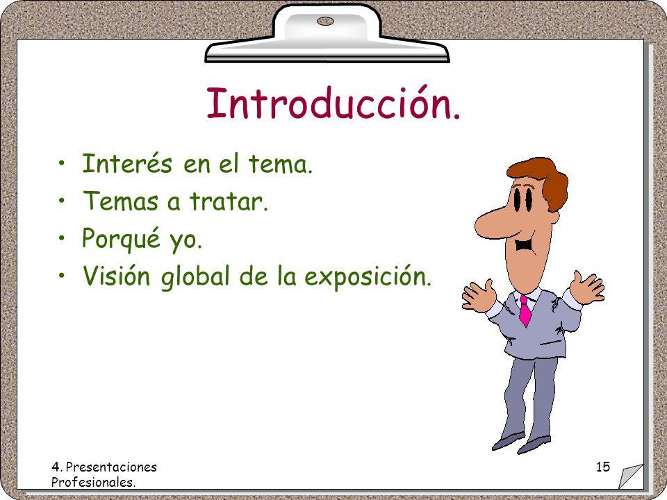 4. Presentaciones Profesionales. 15 Introducción.