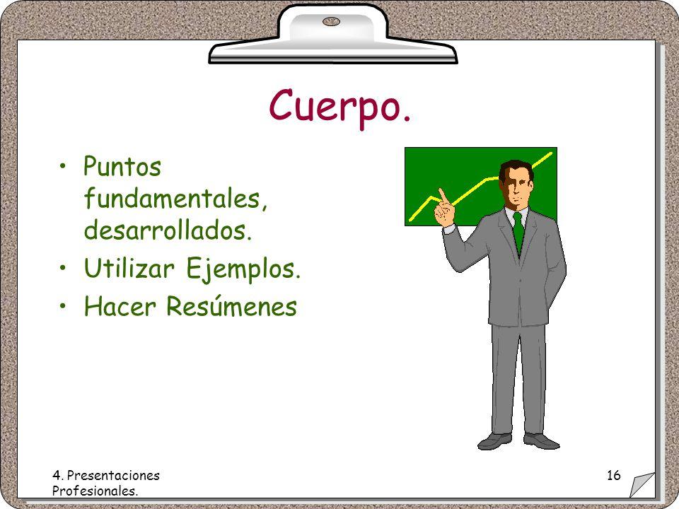 4. Presentaciones Profesionales. 16 Cuerpo. Puntos fundamentales, desarrollados.