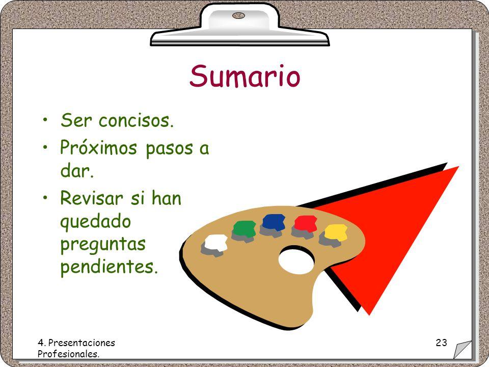 4. Presentaciones Profesionales. 23 Sumario Ser concisos.
