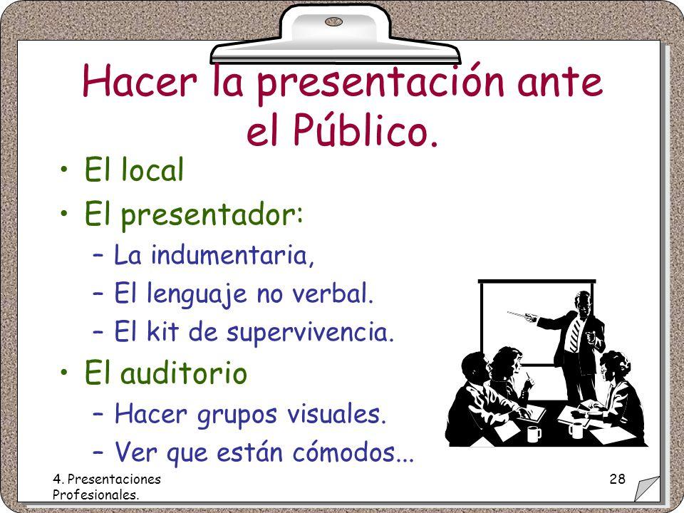 4. Presentaciones Profesionales. 28 Hacer la presentación ante el Público.