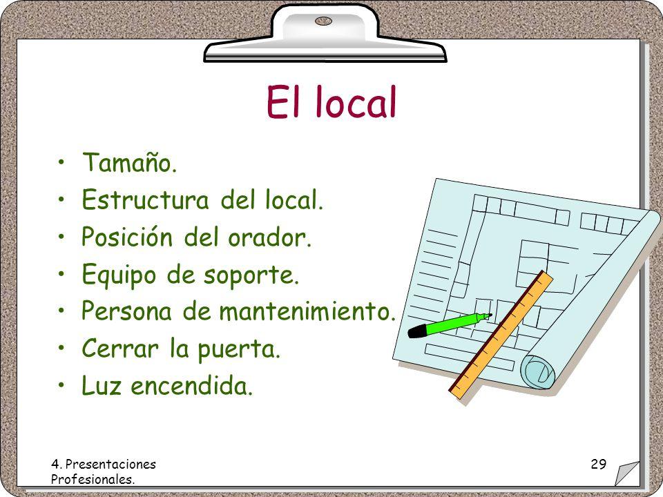 4. Presentaciones Profesionales. 29 El local Tamaño.
