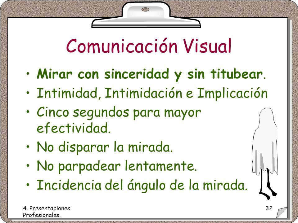 4. Presentaciones Profesionales. 32 Comunicación Visual Mirar con sinceridad y sin titubear.