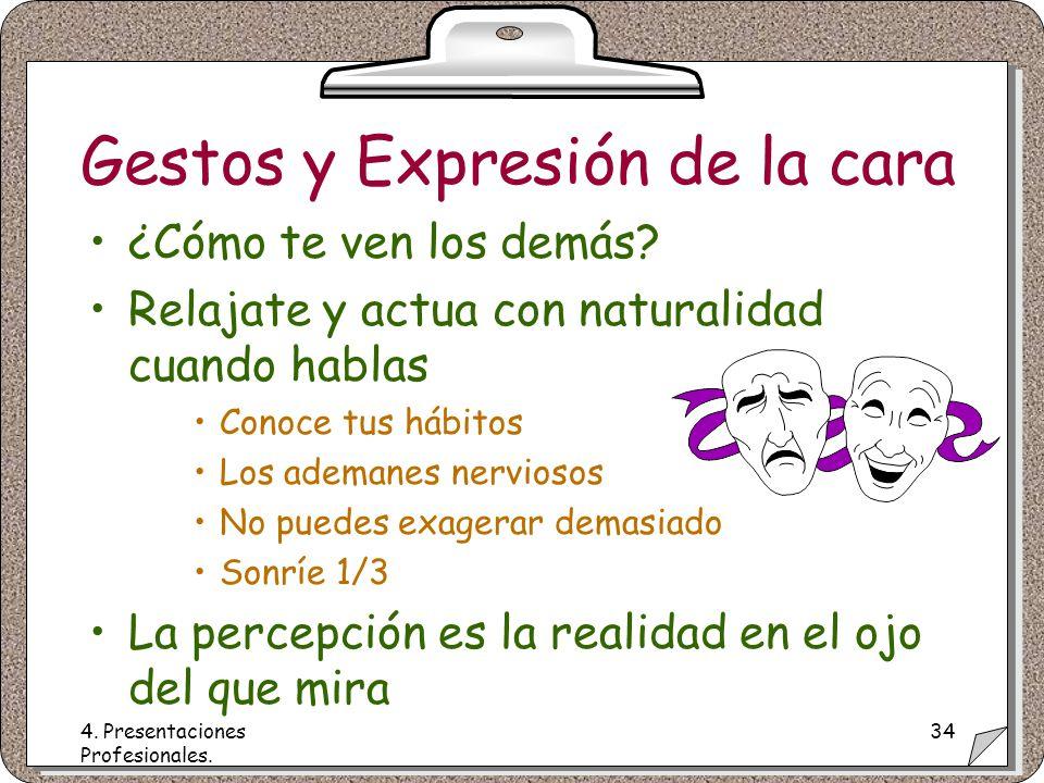 4. Presentaciones Profesionales. 34 Gestos y Expresión de la cara ¿Cómo te ven los demás.